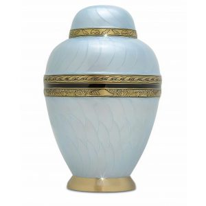 Sea Blue Brass Urn
