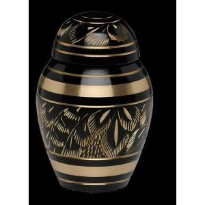 Black and Gold Etched Brass Urn