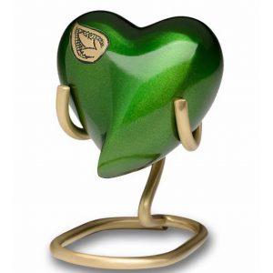 Vibrant Green Brass Heart Keepsake