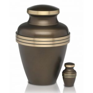 Brass Cremation Urn with Brass Bands