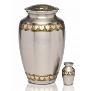 Brass pewter urn, with Golden Brass Hearts